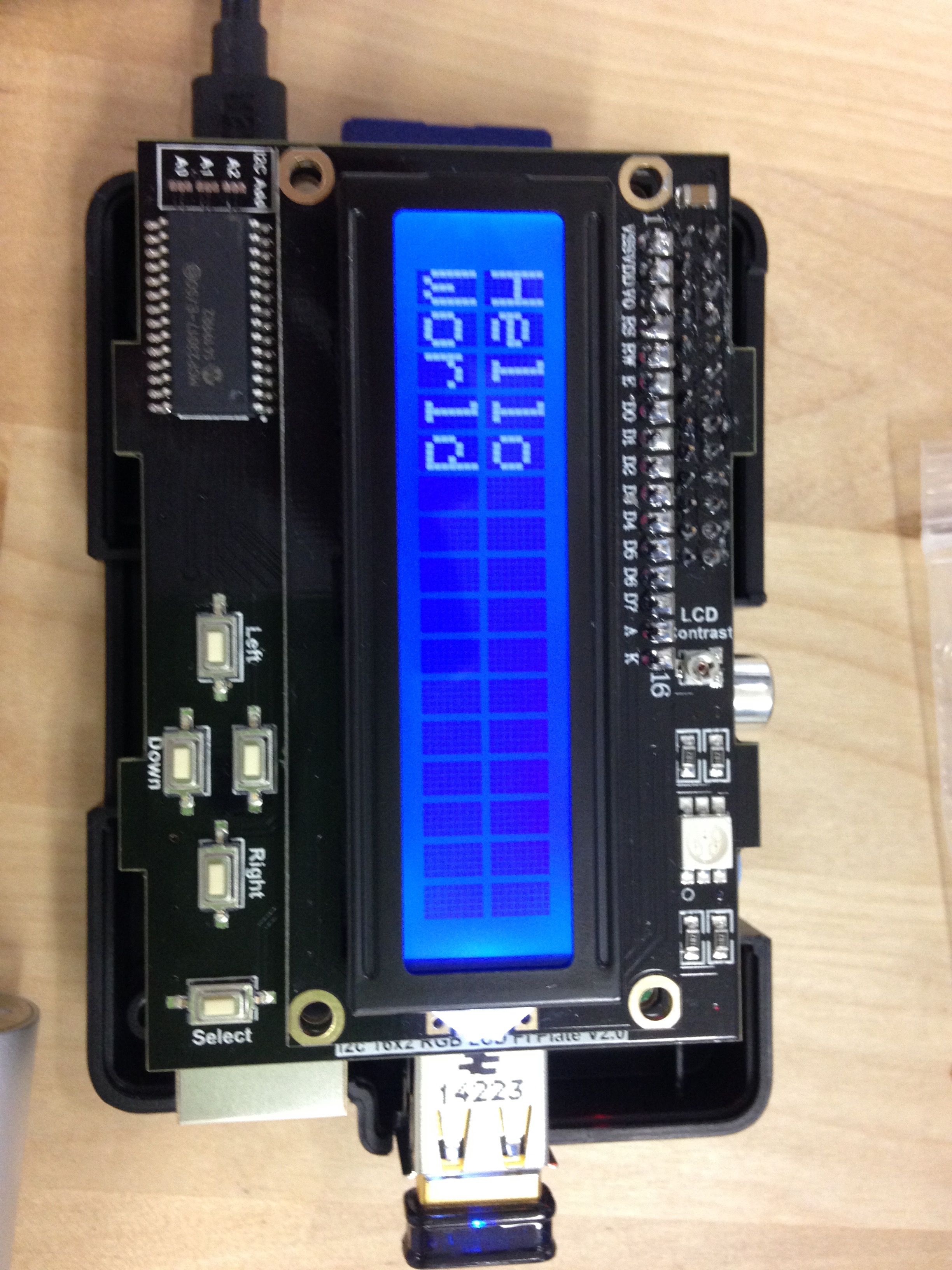 A Hello World message on an LCD display