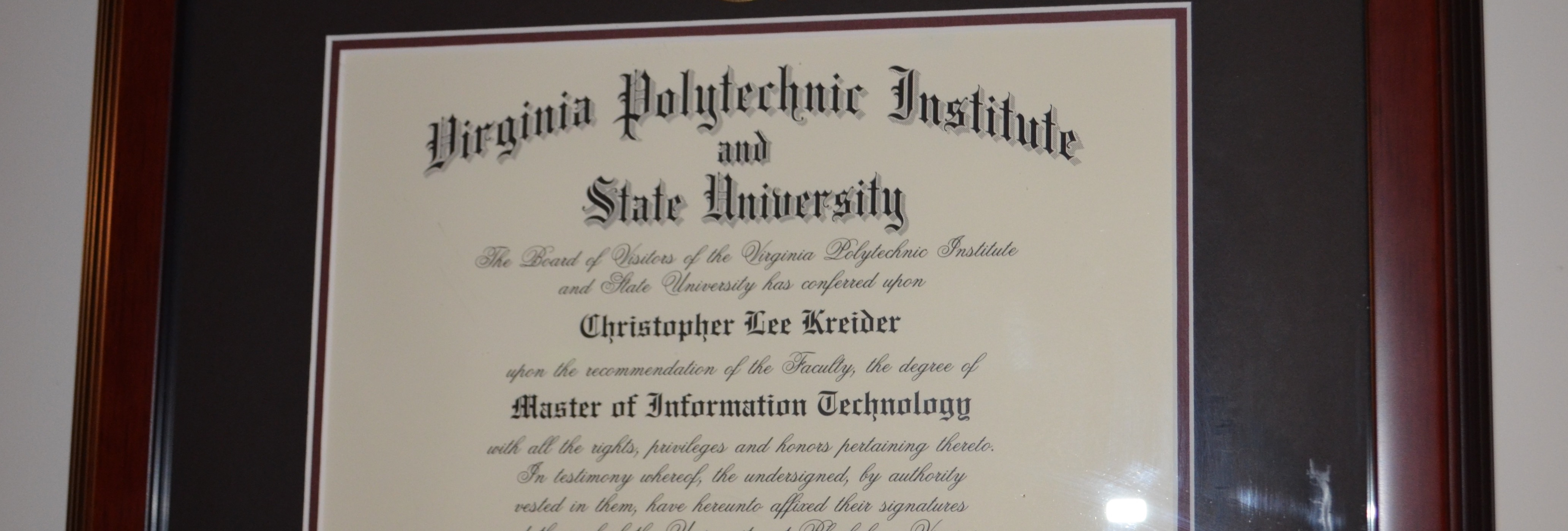 Chris Kreider's masters degree diploma from Virginia Tech